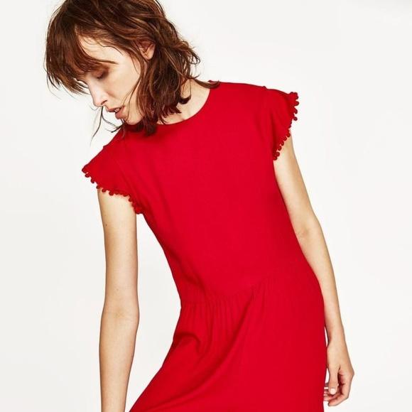 ceff92ac71 Red Zara Pom Pom Jumpsuit. M 5b00bd3f1dffda026cb9a372